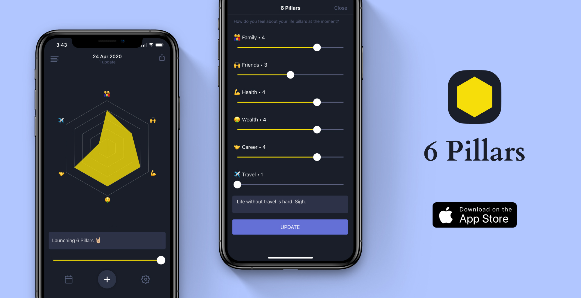6 Pillars is an iOS app built by Kavisha to define, track and reflect periodically on the core pillars of your life that lead to a better version of you.