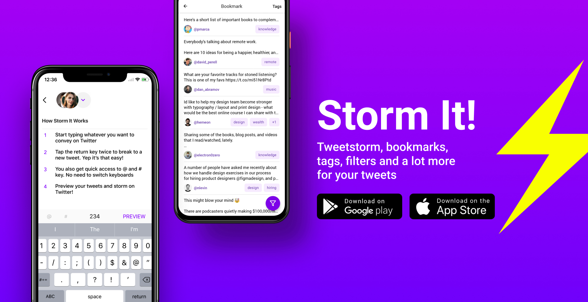 Storm it for iOS and Android - Tweetstorm, unroll tweets, unroll threads, bookmark tweets, add tags to tweets